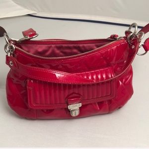Coach Poppy Red Patent Leather Quilted crossbody